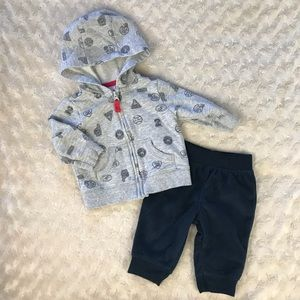 Carter's Hooded Light Jacket & Fleece Pants 3M
